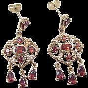 Vintage 10k Gold Chandelier Garnet Earrings