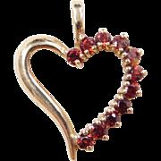 Vintage 10k Gold Garnet Heart Pendant