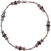 """Sterling Silver Garnet and Marcasite Flower and Heart Necklace ~ 16 1/2"""""""