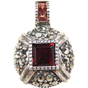 Sterling Silver Garnet and Marcasite Pendant