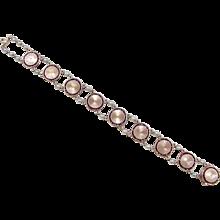 Vintage 14k Gold Garnet and Cultured Pearl Bracelet