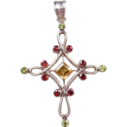 Sterling Silver Peridot, Garnet and Citrine Cross Pendant