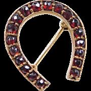 Vintage Bohemian Garnet Horse Shoe Charm ~ Gold Plated