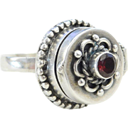 Sterling Silver Garnet Poison Ring
