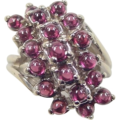 Vintage 14k white gold garnet waterfall ring from for Waterfall design ring