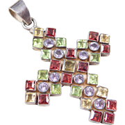 Sterling Silver Colorful Gemstone Cross Pendant