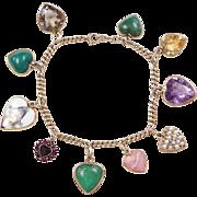 Vintage 14k Gold Gemstone Heart Charm Bracelet ~ Circa 1940-50's