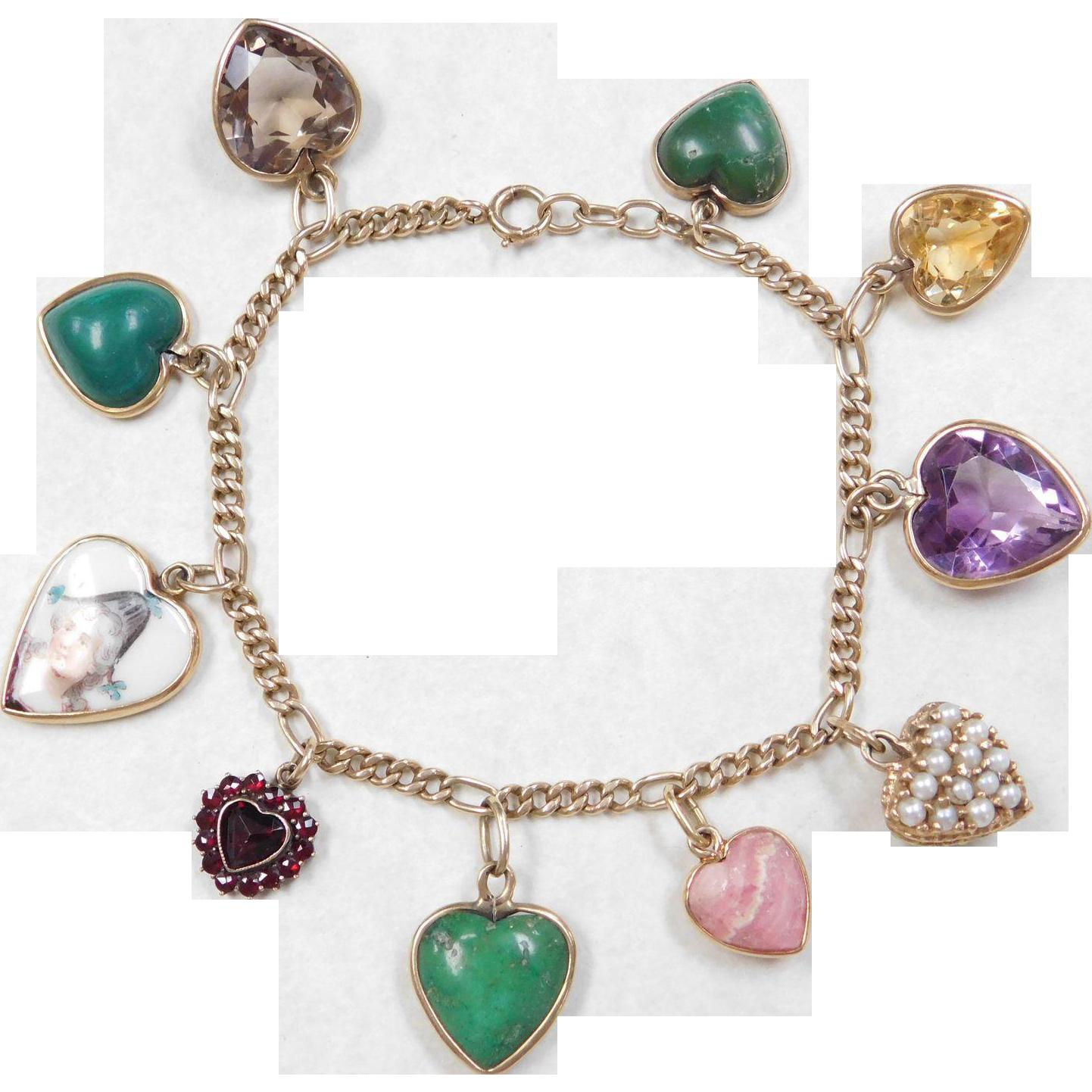 Vintage 14k Gold Charm Bracelet: Vintage 14k Gold Gemstone Heart Charm Bracelet