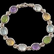 """Vintage 14k Gold Gemstone Scarab Bracelet ~ 7 1/4"""""""