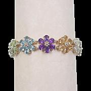 Vintage 14k Gold 22.56 ctw Gem Stone Flower Bracelet