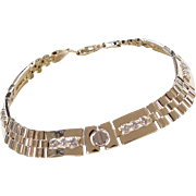 Vintage 14k Gold Gents 1.44 ctw Diamond Bracelet ~ 9 1/4""