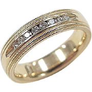 Vintage 14k Gold Gents .20 ctw Diamond Wedding Band Ring