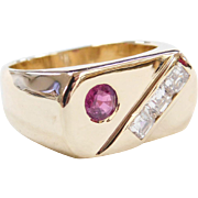 Men's Vintage 14k Gold .96 ctw Natural Ruby and Diamond Ring