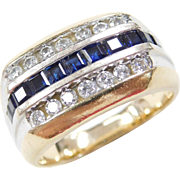 Vintage 14k Gold Gents Two-Tone 1.74 ctw Sapphire and Diamond Ring