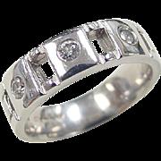Men's 14k White Gold .30 ctw Diamond Wedding Band Ring