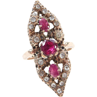 Georgian 10k Gold Ruby and White Sapphire Ring