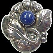 Vintage Sterling Silver Georg Jensen Lapis Flower Brooch / Pin