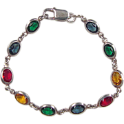 Vintage Sterling Silver Faux Sapphire, Faux Ruby, Faux Citrine and Faux Emerald Bracelet