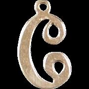 Vintage 14k Gold Letter C Charm
