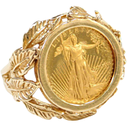 1/10 Oz Fine Gold $5 Dollar Liberty Coin Set in a 14k Gold Leaf Ring