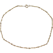 Gold Vermeil Sterling Silver Singapore Bead Anklet ~ 10""