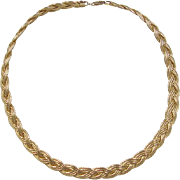 Gold Vermeil Braided Necklace ~ Sterling Silver 17 1/4""