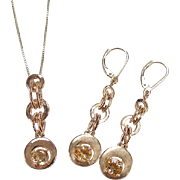 Gold Vermeil Citrine Necklace and Earring Set ~ Sterling Silver