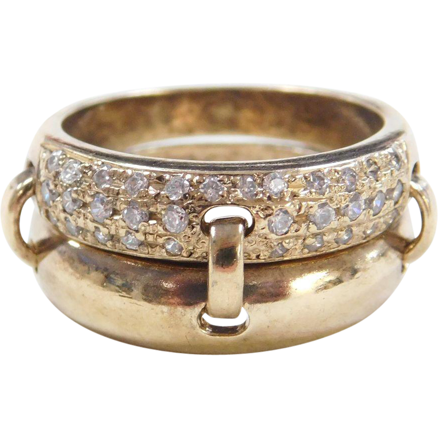 Sterling Silver Gold Vermeil Faux Diamond Ring