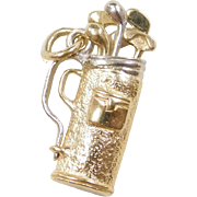 Vintage 18k Gold Two-Tone Golf Bag and Clubs Charm