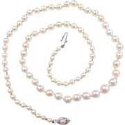 Vintage 14k White Gold Graduated Cultured Pearl Necklace Strand ~ 19""