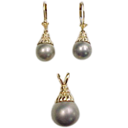 Vintage 14k Gold Gray Pearl Earrings and Pendant Set