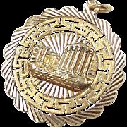 Vintage 18k Gold BIG Greek Temple Charm