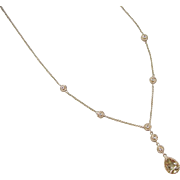 Vintage 14k Gold Green Amethyst and Diamond Necklace ~ 16""