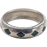 Vintage Sterling Silver Green Enamel Ring