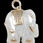 Vintage 14k Gold Carved Green Jade Stone Elephant Pendant