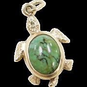 Vintage 14k Gold Green Jade Charm