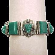 Vintage Sterling Silver Green Onyx Tribal Bracelet
