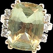 Vintage 14k Gold 9.42 ctw Green Quartz and Diamond Ring