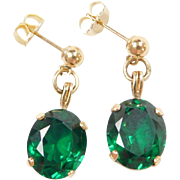 Vintage 14k Gold 11.22 ctw Green Spinel Dangle Earrings