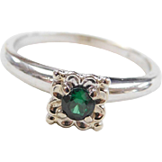 Vintage 14k White Gold Green Spinel Ring