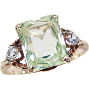 Vintage 10k Gold 3.56 ctw Green Spinel and White Topaz Ring
