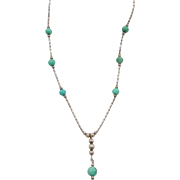 """Native American Vintage Sterling Silver Green Turquoise Bead Liquid Silver Necklace ~ 16"""""""