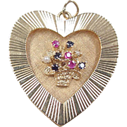 Vintage 14k Gold HUGE Heart Charm with Gemstone Flower Basket
