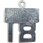Vintage Happy Birthday 18 Charm, Sterling Silver