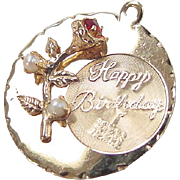 Vintage 14k Gold Happy Birthday Faux Garnet and Pearl Flower Charm