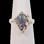 Vintage 14k Gold Harlequin Black Opal and Diamond Ring