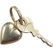 Vintage 14k Gold Heart and Key Charm