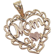 Vintage 14k Gold Two-Tone MOM Heart Charm