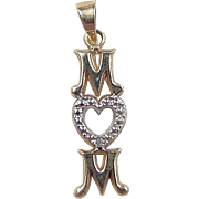 Vintage 10k Gold Two-Tone Heart MOM Charm