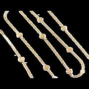 "Vintage 14k Gold Valentines Long Heart Necklace ~ 24""~ 5.1 Grams"
